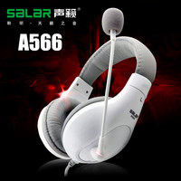 サラーブランドa566ゲーミングヘッドフォンステレオ3.5ミリメートルヘッドセットでラップトップpc用マイクマルチメディアヘッドバンドヘッドフォ
