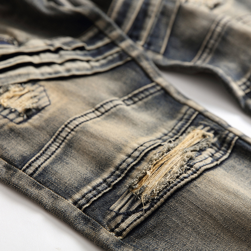 ABOORUN New Mens Biker Jeans Vintage Distressed Ripped Jeans Zippers Patches Straight fit Denim Pants for Male x404