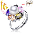 Colorido NYMPH natural água doce da pérola anéis de Rubi safira puro talão pedra fine jewelry para o casamento [xy001]