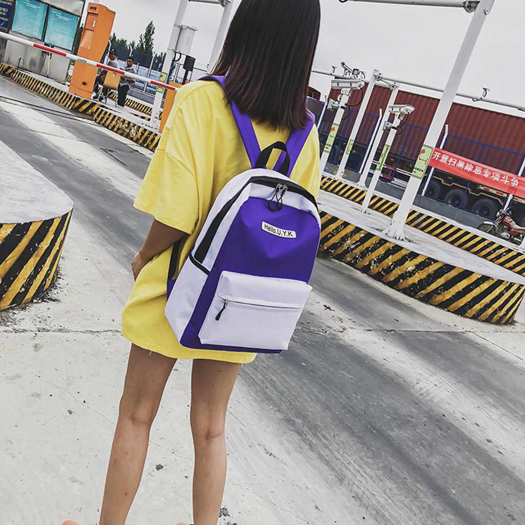 Kapasitas Besar Ransel Wanita Ritsleting Tahan Air Tas Ransel Sekolah Mahasiswa Tas Perjalanan Tas Besar Kapasitas Cetak Huruf Tas Ju9