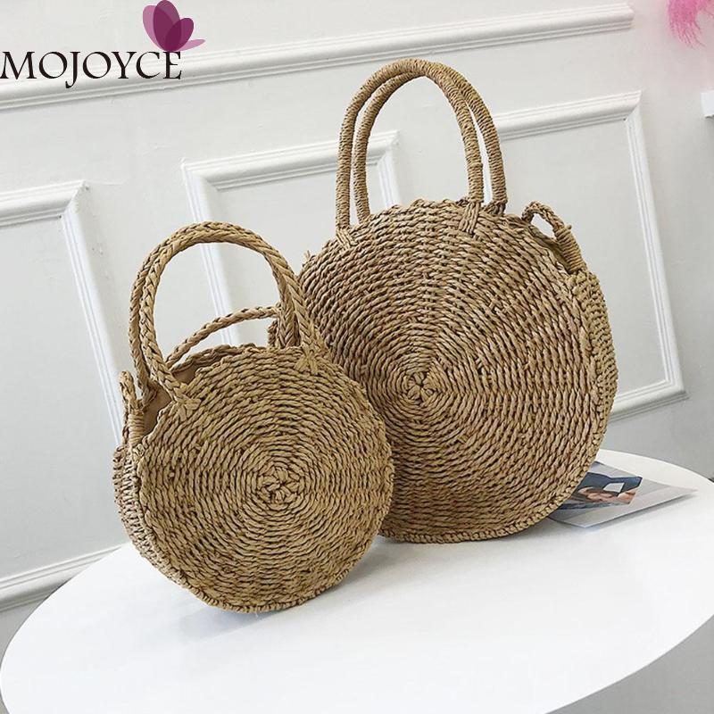 Paja tejida bolso redondo ratán Retro hombro de las mujeres Boho verano playa empaquetan totalizadores del bolso femenino