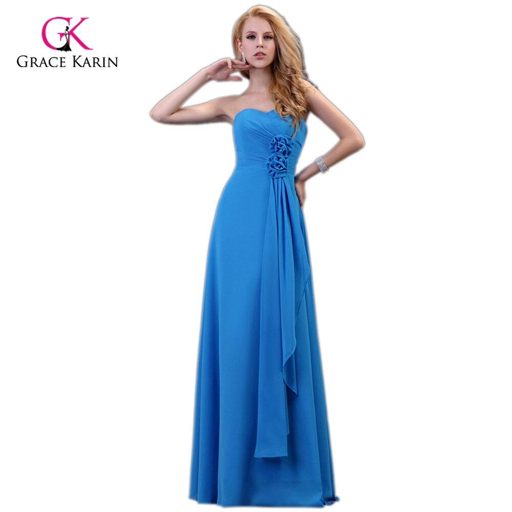 Grace Karin Blue Evening Dresses Long Formal Dress Robe de Soiree Longue  2018 Elegant Women Party Long Evening Gowns for Wedding 28a3ef381