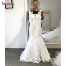 2019 New Arrival Design Lace Mermaid Wedding Dress Cap Sleeve Sweep train backless wedding gown