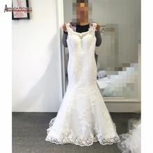 Robe de mariée sirène en dentelle, robe de mariage avec manches cape, dos nu, modèle 2019 et nouveauté