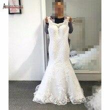 Vestido de casamento sereia de renda, de manga longa, frente única, design de trem, 2019