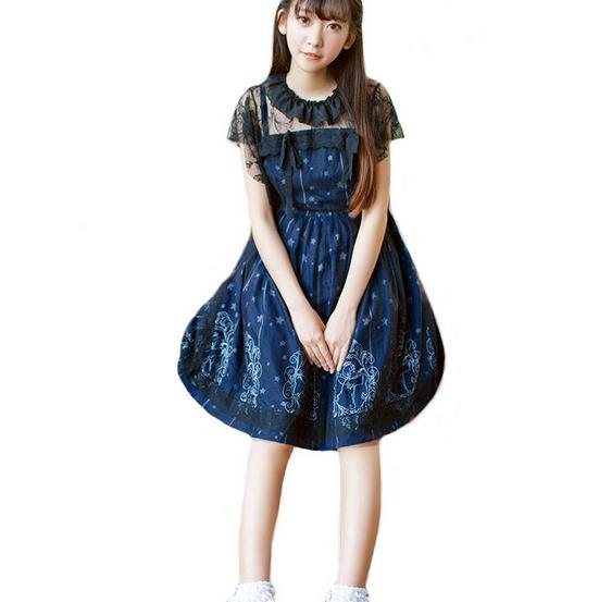 Sky Constellation Gothic Lolita Dress Dark Blue JSK Veil Tunic Night Angel Pattern Short ...