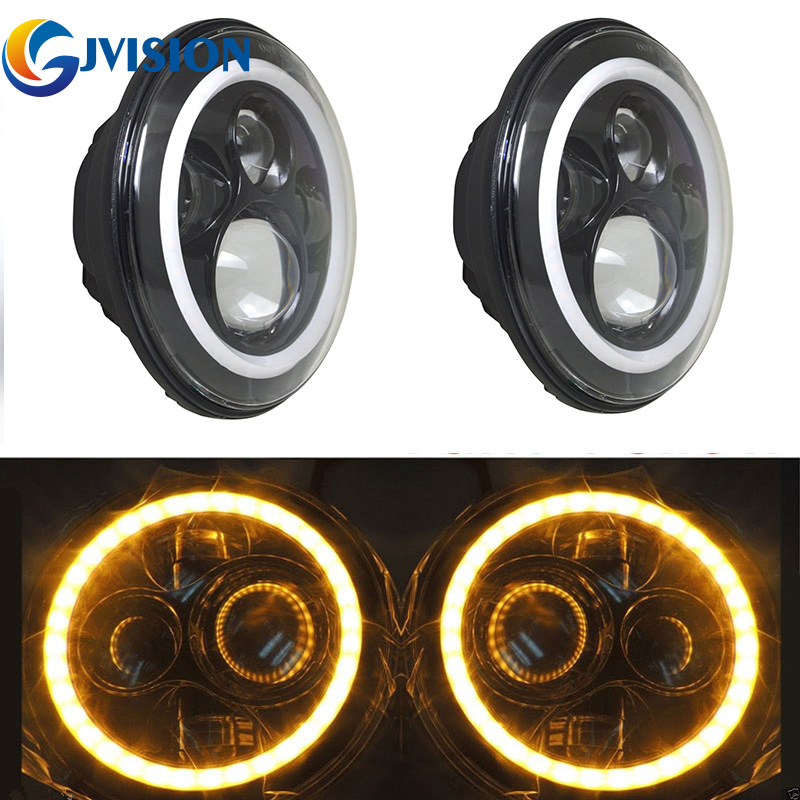 Pair 7 inch 80W Black Projector headlight Round H4 H13 LED Headlights White/Amber halo Ring angel eyes for Jeep Wrangler JK CJ 7inch round halo headlights 45w wrangler jk high low beam headlamp 7 angel eyes projector head light for jeep land rover