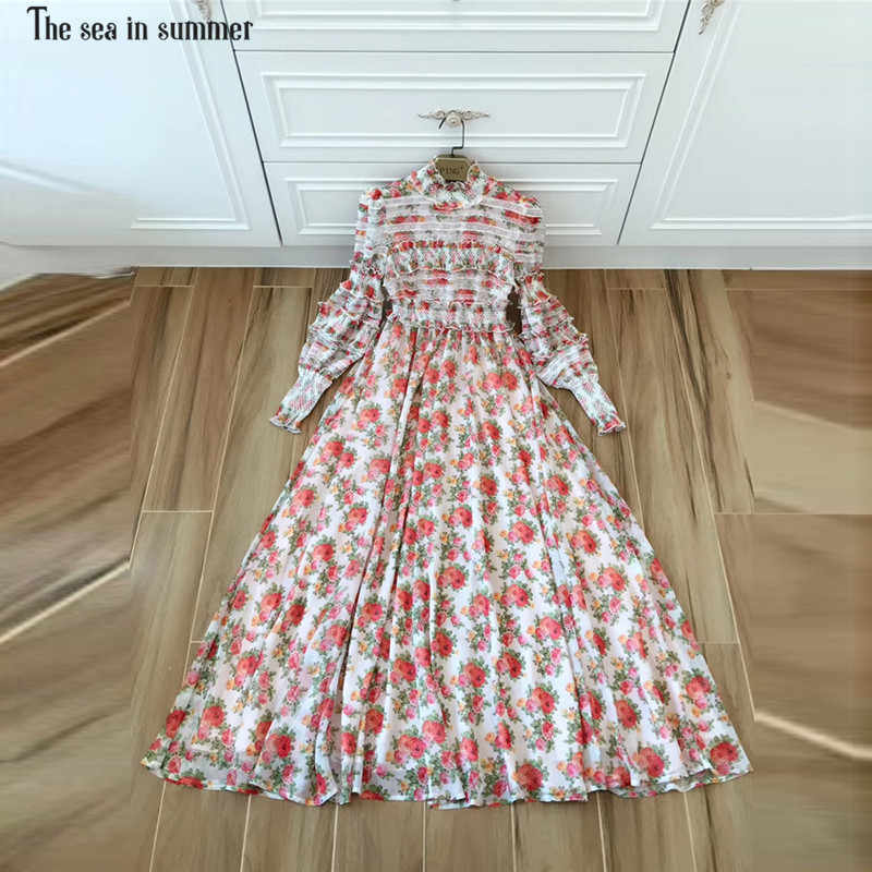 6cbe48ad11 The sea in summer Spring Designer Stunning Maxi Dress Women's Puff Sleeve  Charming Red Floral Printed
