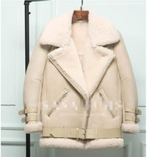 New Blue Color Real Shearling Coat Natural Sheepskin Suede Men and girls Jacket Short Clothes Thick Overcoat Baby Blue XS-XL