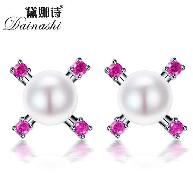 Dainashi 100% Real 925 Sterling Silver Natural Pearl Bead Jewelry Earrings For Women Best Gift For Wedding Fine Earrings hot
