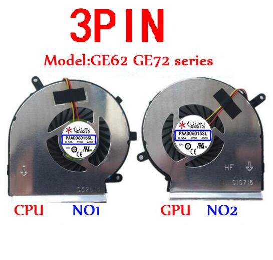 PAAD06015SL Fan For MSI GE62 GE72 PE60 PE70 GL62 N303 N302 GE60 A166 MS-16GF MS-16GD GE70 1756 GE62VR GE72VR GP62MVR GL62M N366