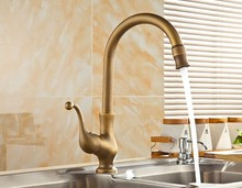 цена на Vintage Retro Antique Brass Single Handle Swivel Spout Kitchen Sink Faucet  Cold & Hot Mixer Tap asf110