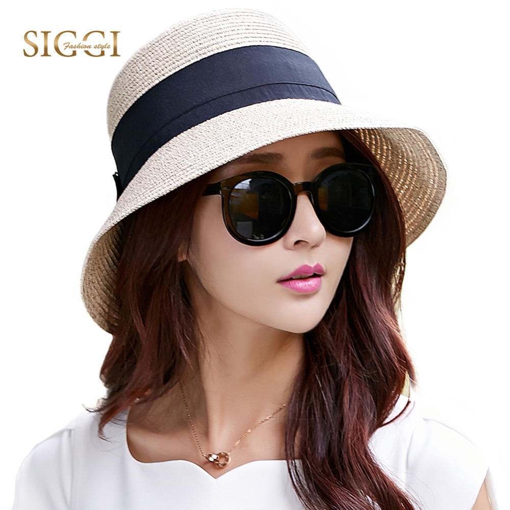 FANCET Kvinner Sommer Floppy Straw Sun Hat Wide Surf Packable UPF50 + UV Cap Beach Waist Tie Justerbar Straw Hats Mote 69087