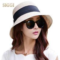 FANCET Women Summer Floppy Straw Sun Hat Wide Brim Packable UPF50+ UV Cap Beach Waist Tie Adjustable Straw Hats Fashion 69087
