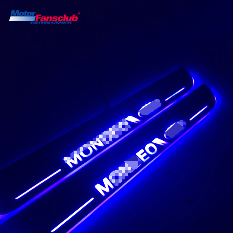 4Pcs LED Car Moving Light Nerf Bar Pedal for Ford Mondeo 2013-2017 2016 Welcome Scuff Plate Strip Tirm Door Sill Guards Pathway