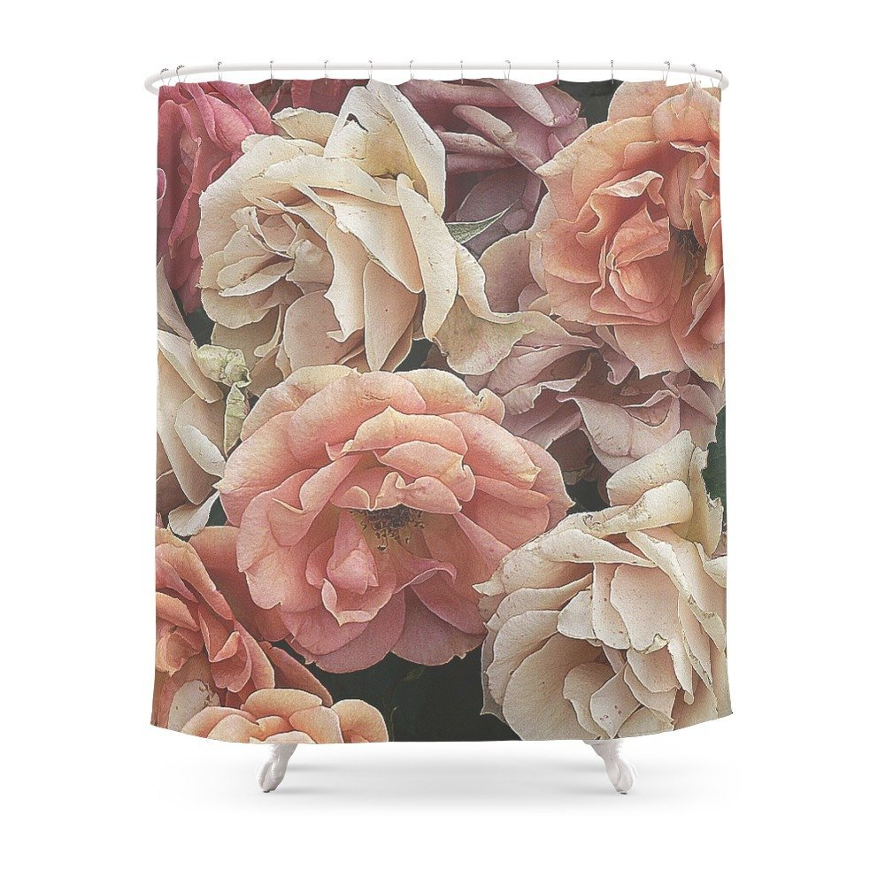 Great Garden Rosespeach Shower Curtain Waterproof Bathroom Curtains Accessories Home Decoration
