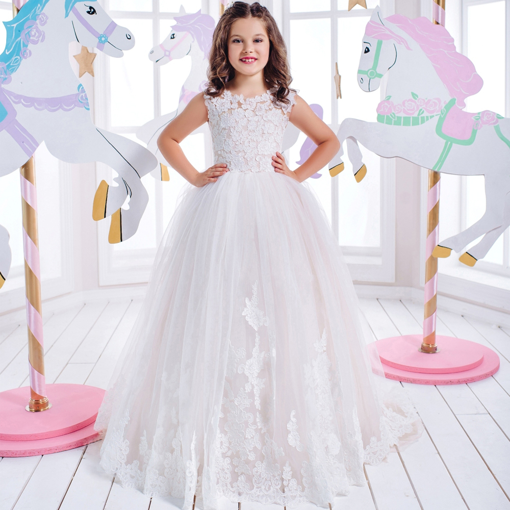 Holy Communion Dresses Appliques Ball Gown Sleeveless O-Neck Lace Up Pageant Gowns Flower Girl Dresses Vestido Daminha Casamento