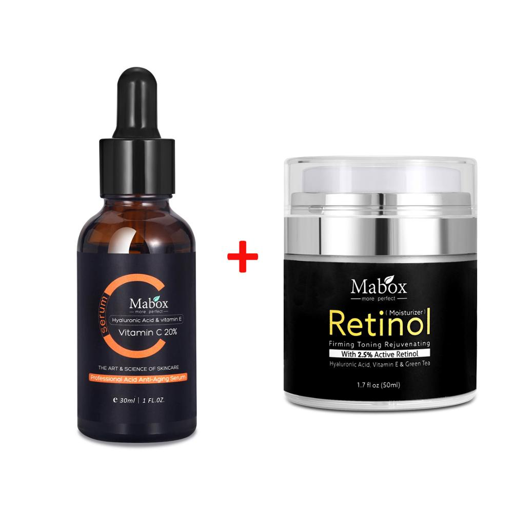 30ml Mabox Vitamin C Whitening Serum + 50ml Retinol 2.5% Moisturizer Face Cream-in Facial Self Tanners & Bronzers from Beauty & Health
