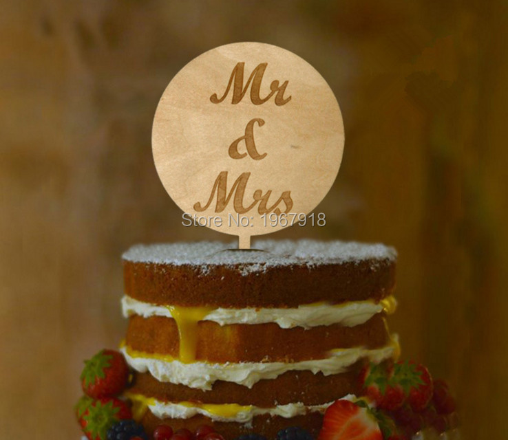 Free Shipping Rustic Wooden Round Happy Birthday Cake Topper Mr Mrs Love Wedding Wood Decoration In Decorating Supplies From Home