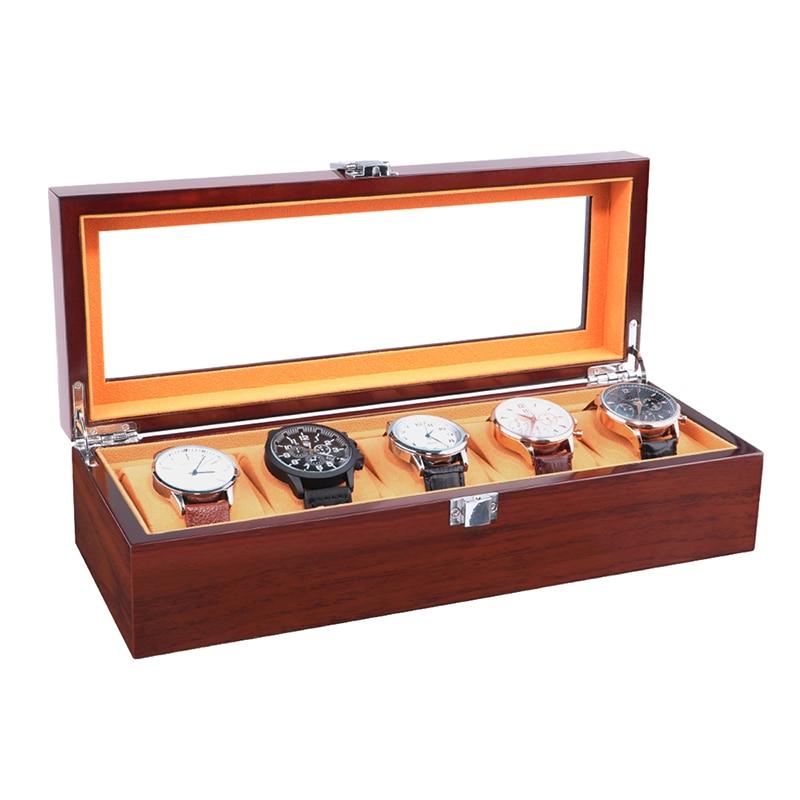 Boîte de montre de luxe 5 grille rouge en bois montre pour hommes boîte en verre fenêtre vitrine bijoux remontoir rangement organisateur montre support de la boîte