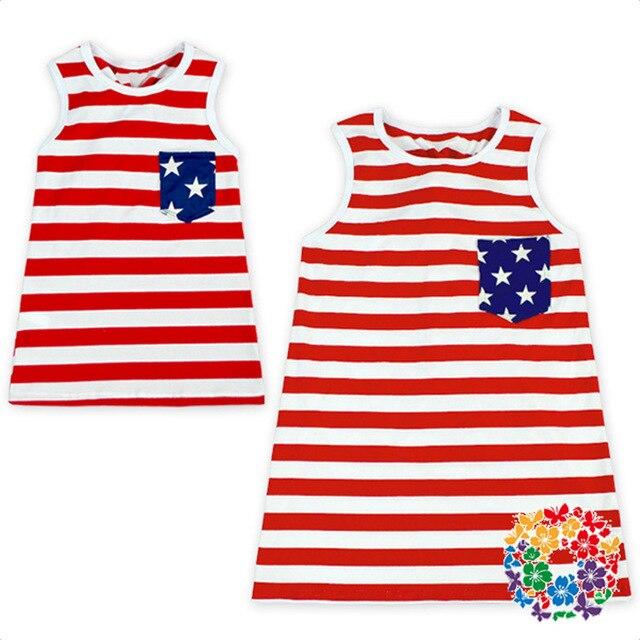 ecdd77dfa6 4th Of July Girls Dress Striped Bow Red Baby Kids Festival Dresses  Patriotic American Flag Children Cotton Dresses  38