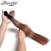 Bigsophy Peruvian Hair Weave Bundles Human Hair Straight 1pc 10 28 2 Tone 1B/30 Ombre Remy Hair Extension Can Buy 3/4 Bundles