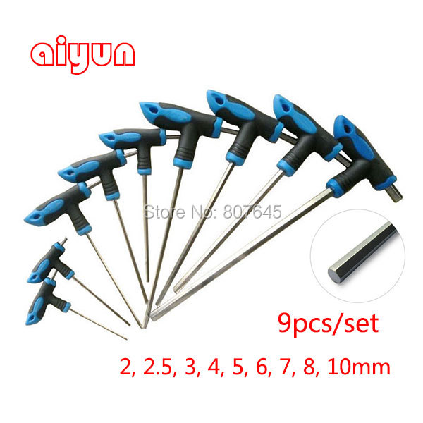 9pcs/set T handle Allen Hex Key Wrench Spanner set hexagon wrench set T type  цены