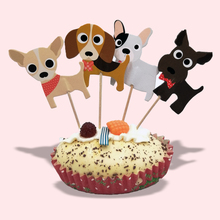 24pcs Llittle Dog Party Supplies Card Collections Cake Topper for Decoration Dessert lovely Gift Happy Birthday