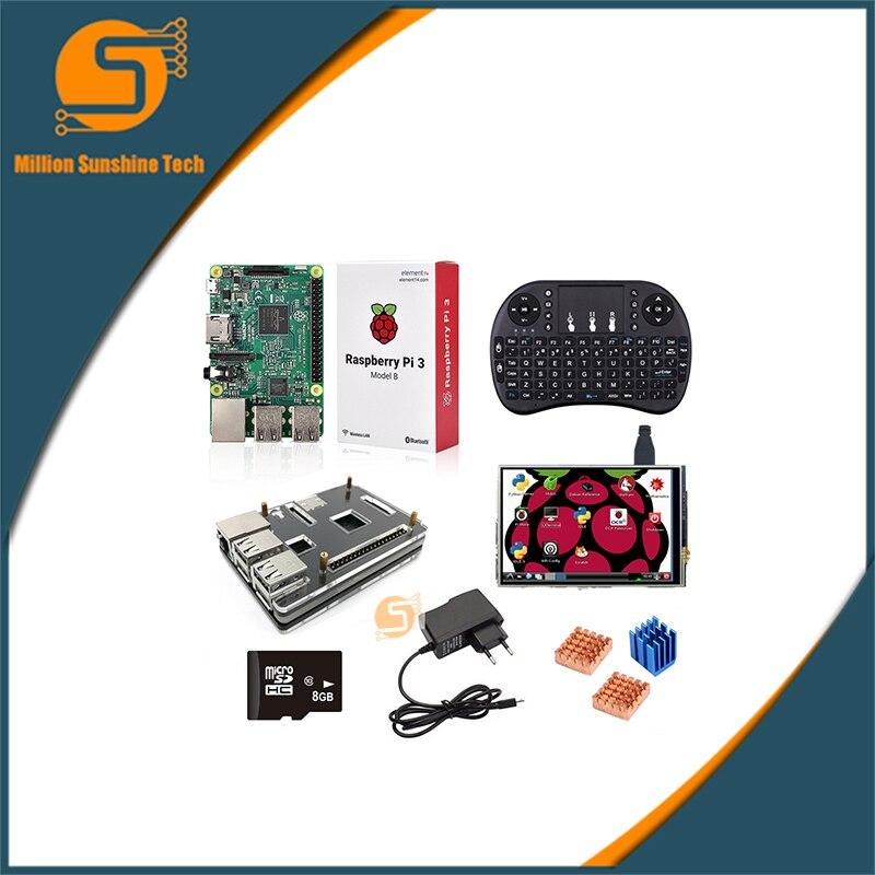 Raspberry Pi 3 + cas + 8G SD + clavier + alimentation + dissipateur de Chaleur + 3.5 pouce Raspberry pi 2/3 LCD affichage à l'écran tactile pour Raspberry pi