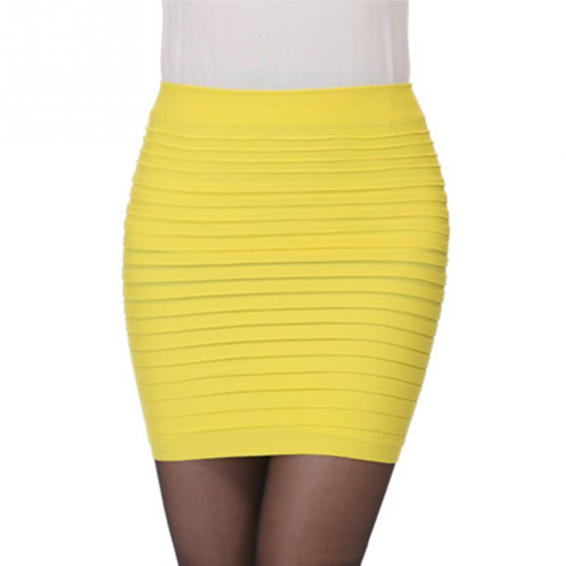 New Mini High Waist Pleated Elastic Short Pencil Bodycon Slim Skirt Seamless Tight Fitted Skirt