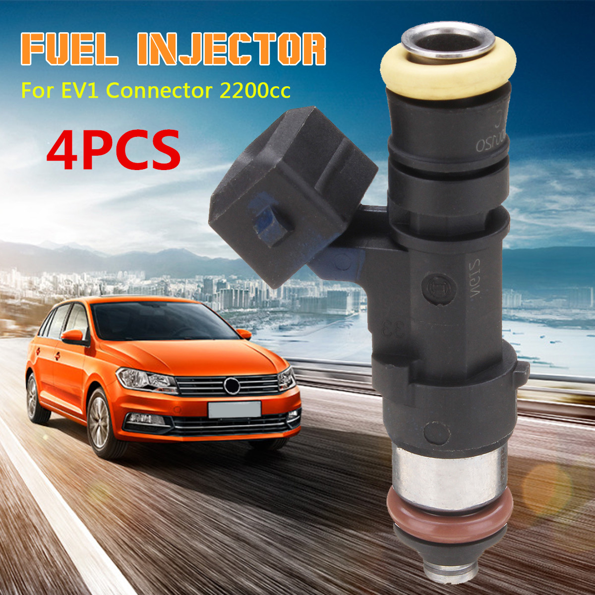 Autoleader 4Pcs Black High Impedance Fuel Injector for EV1 Connector 2200cc Auto Replacement Parts Plastic 65x14mm Universal
