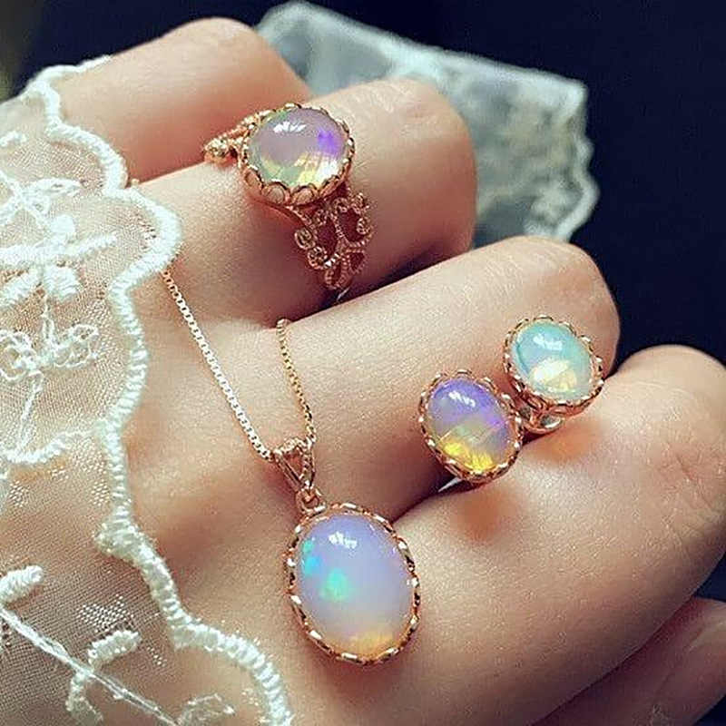 Opal Women Jewelry Sets Stone Pendant Necklaces Choker Water Drop Earrings Ring Gold Color Bohemia Wedding Jewelry Delicate Gift