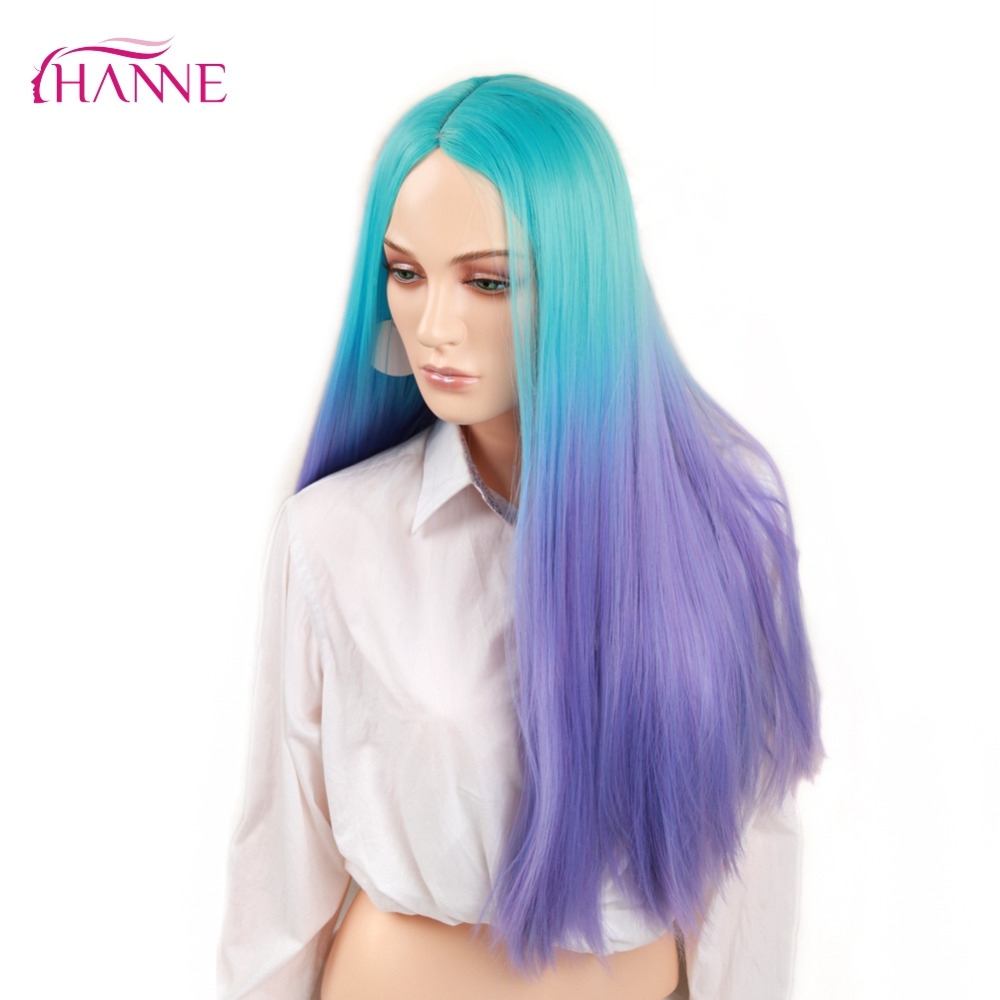 HANNE Ombre Wig Blue to purple 28inch Heat Resistant Synthetic Hair Long Straight Wigs For Black Women's Party Or Cosplay