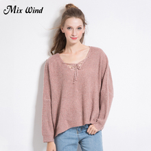 Mix Wind 2017 Winter New Products V Collar Belt Knit Sweater Bat Sleeve Loose Solid Color Sweater Women High Quality