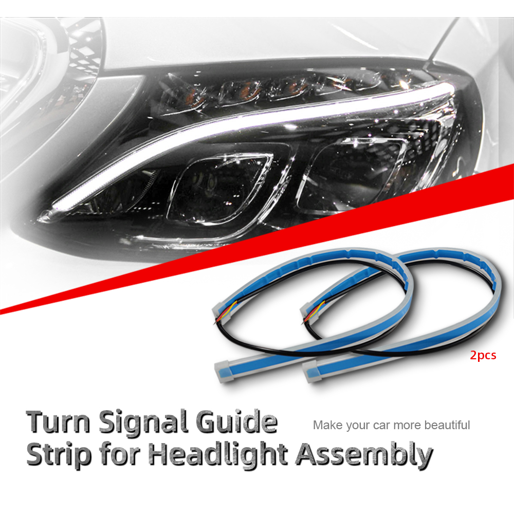 Image 2 - 2Pcs Car Styling LED Running Lights Accessories Light Auto Flowing Turn Signal Light Guide Strip Headlight Assembly Flash Lights-in Car Headlight Bulbs(LED) from Automobiles & Motorcycles
