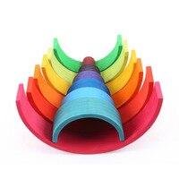12Pcs wooden rainbow blocks wooden building blocks For Kid Rainbow Building Blocks Montessori educational wooden toy