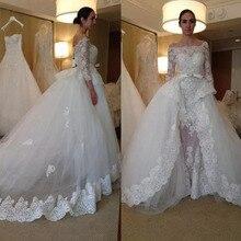 Baroque Summer Wedding Dresses Detachable train 3/4 Sleeves