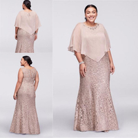 2018 Mother Of the Bride Dresses Jewel Neck Champagne Full Lace With Cape Wrap Beaded Floor Length Mermaid Wedding Guest