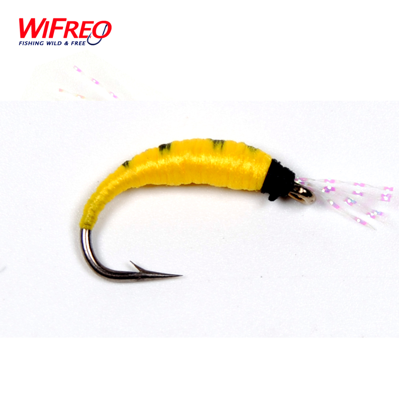[10PCS] Wifreo Size 6 Yellow Pupa Larva Nymph Fly for Trout Bass Fishing pilotage микро робот larva цвет черный