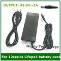 Salida 43.8V2A cargador para 12 series 3.2 V * 12 series batería lifepo4 100-240VAC DC Utilizado para 12 S LiFePO4 batería Eléctrica de la bici