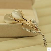 Rhinestone Opal Tulip Brooch Pin 2015 New Arrival Korean Luxury Elegant Jewelry Strass Broche Bridal Lapel