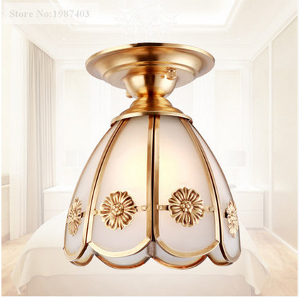 ФОТО European vintage copper&froste glass Ceiling lights Handwork soldering E27 LED lamp for porch&pavilion&stairs&bar BRSXDD002