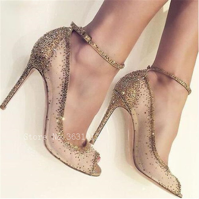 2018 Luxury Brand Nude Lace Crystal Studded Ankle Strappy Buckle Peep Toe Women Pumps Thin High Heels Stiletto Party Shoes Woman luxury brand shoes women peep toe