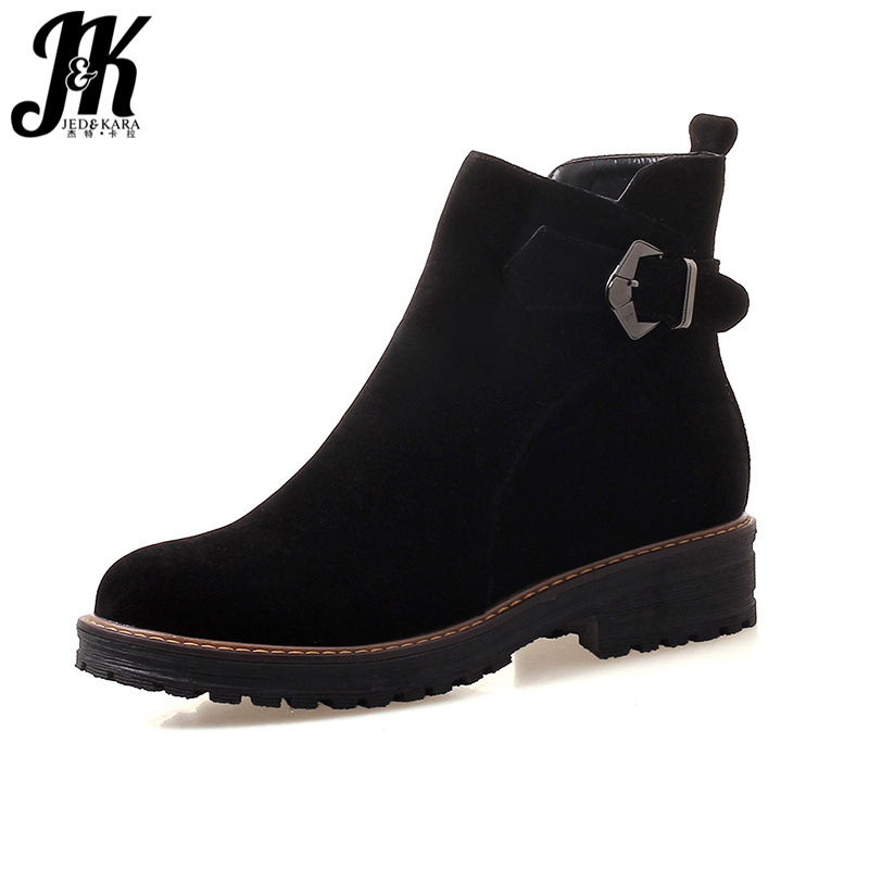 JK New Thick Heels Ankle Boots Women