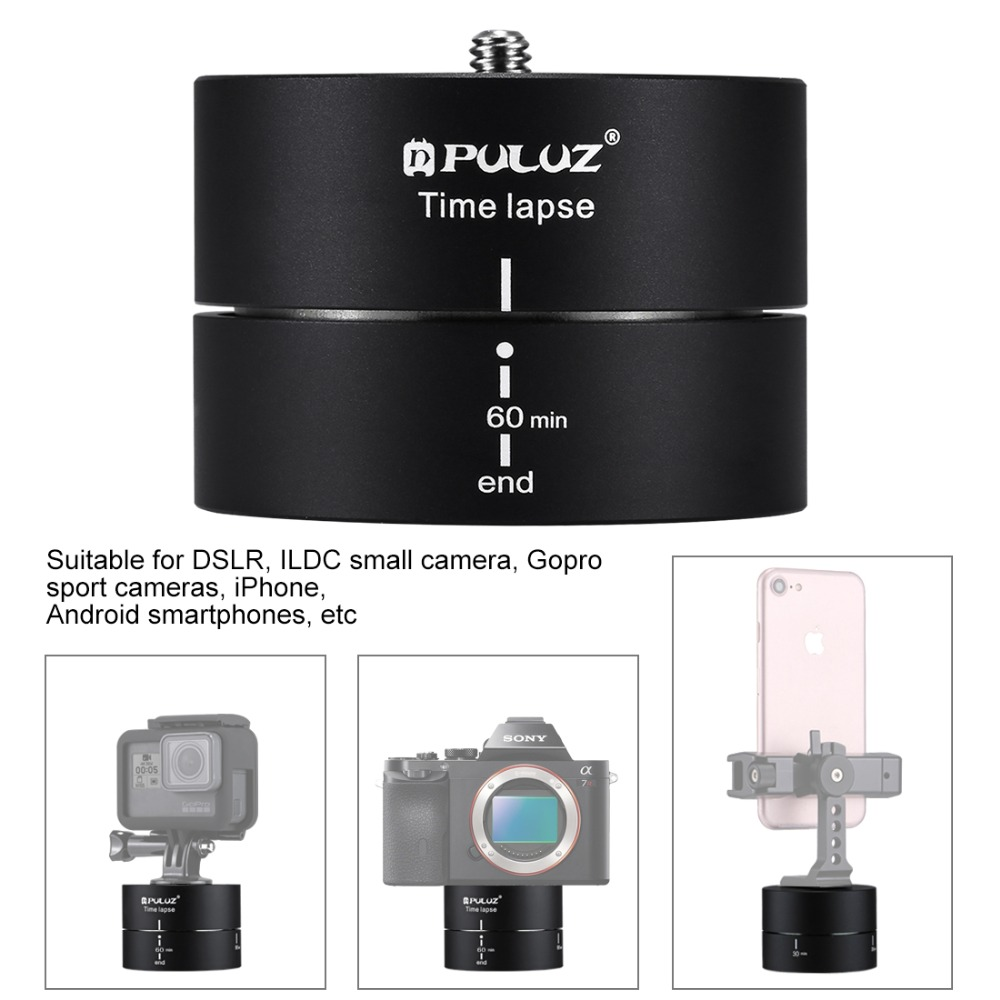 GzPuluz Tripod Heads 360 Degrees Panning Rotation 60 Minutes Time Lapse Stabilizer Tripod Head Adapter