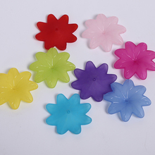 15pcs/bag Translucent Dull Polish Eight Petals Flower Shape DIY Craft Accessories Beads For Jewelry Making Acrylic 7*38mm