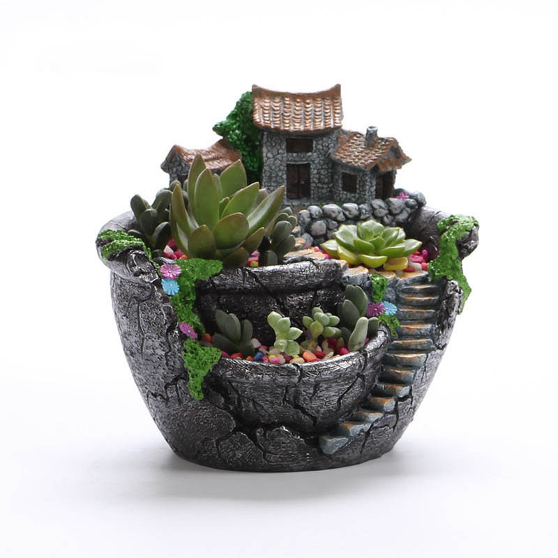 GLLead Cartoon Creative Bonsai Pots Desktop Landscape Plant Garden Flowers Baskets Flower Pot Succulents Plants Holder House