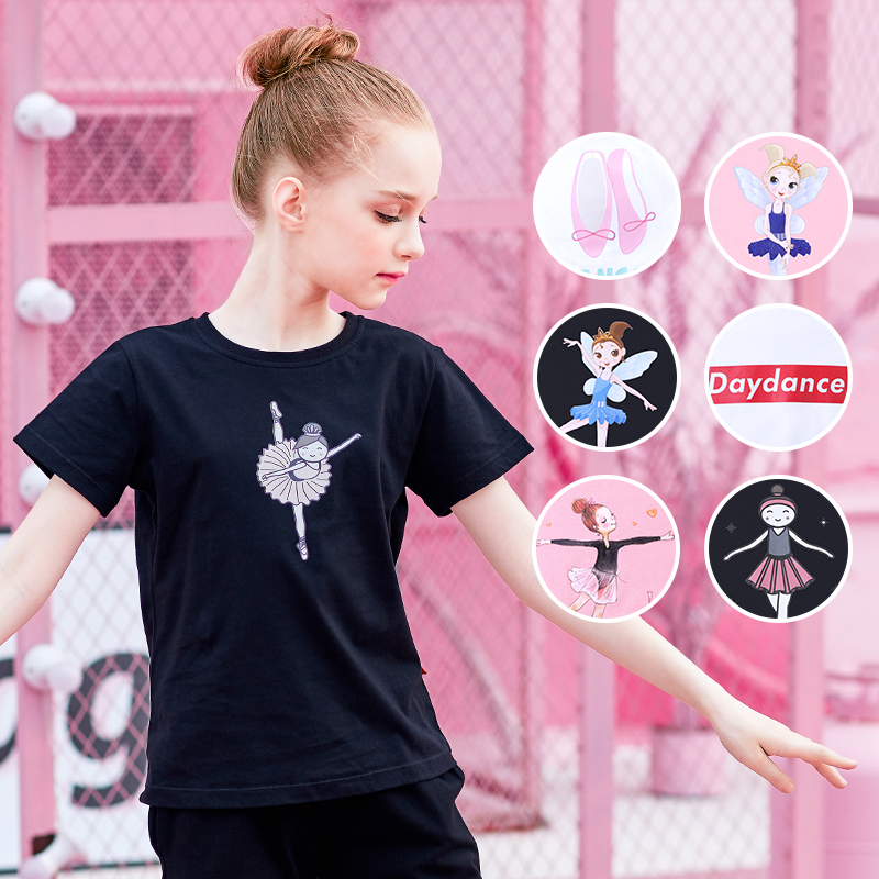 Girls Soft Printing Ballet Dance T Shirts Summer kids Solid Color dance T shirts Short Sleeve Clothes For Dance Training