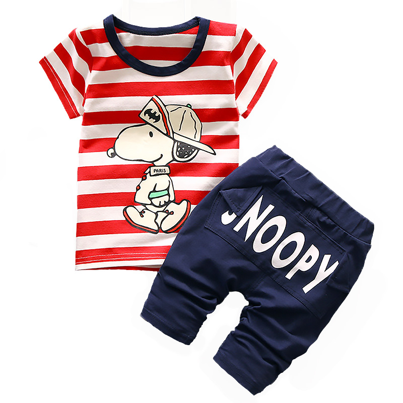 2018 Summer Baby Clothes Boys Cartoon Dogs Sets Kids Casual Stripe T-shirt+Letters Short Pants Two Piece Children Sports Suits