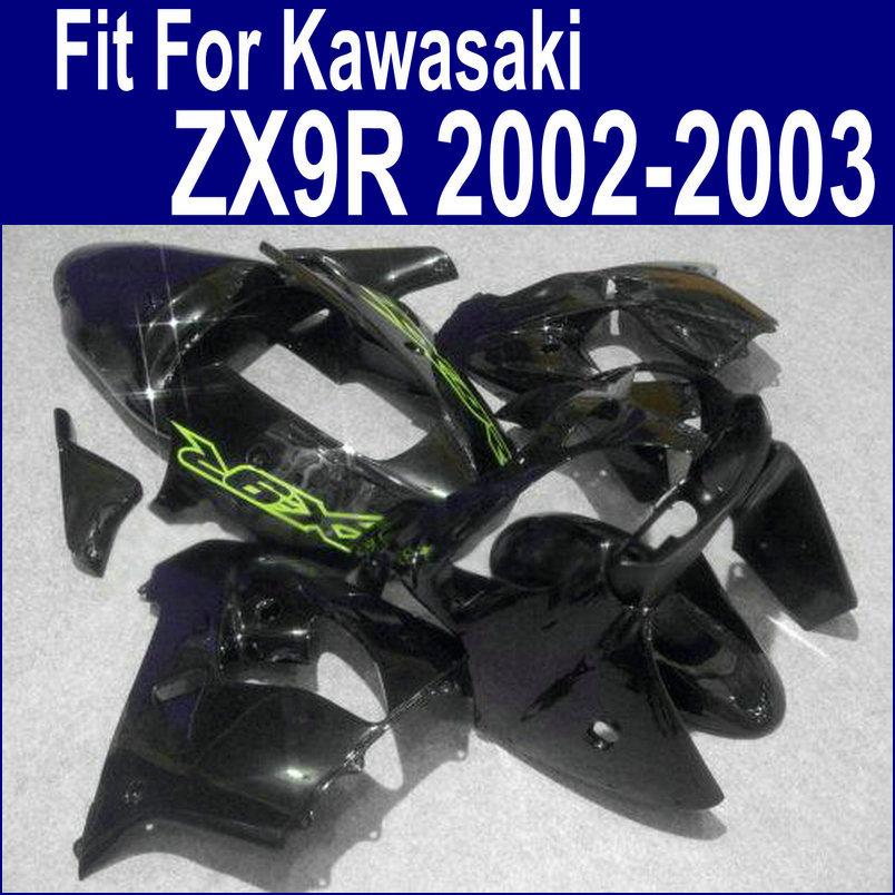 Черный окрашенные Обтекатели для Kawasaki ниндзя zx9r зализа комплект 2002 2003 02-03 с полной части ABS пластичные комплекты xl14
